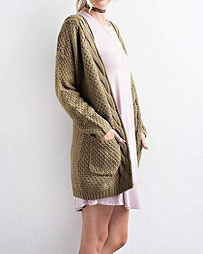 Manica Giacca Grün Monocromo Casual A Donna Cardigan Tempo Elegante Maglia Cappotto Tasche Confortevole Lunga Anteriori Moda Libero Maglioni Lunghi Autunno Giovane Armee qHSzC