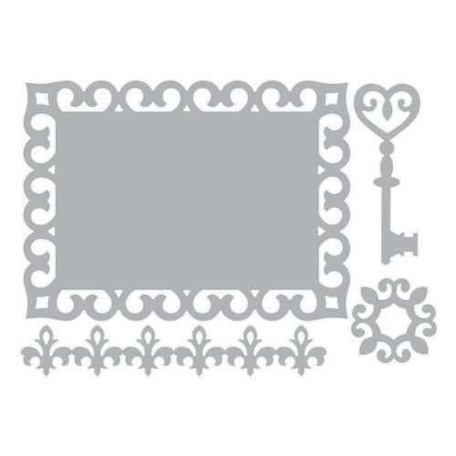 4 Piece Dies Set - Sizzix Thinlits Die Set 4PK - Border, Label, Medallion & Key by Rachael Bright