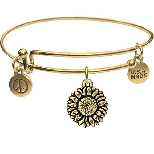Goldtone Bangle Bracelet and Sunflower Charm