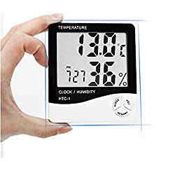 BEMAGSA Digital Hygrometer Thermomenter Indoor Humidity Monitor with Temperature Gauge Humidity Meter,Display Alarm Clock Calendar LCD Multi-function Hygrometer for Baby, Kids,Home,Car,Office