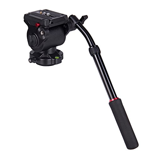 Video Camera Tripod Monopod Head Fluid Drag Pan Head QR Plate with 1/4 and 3/8 Inches Screws Sliding Plate for DSLR Cameras Video Camcorders Shooting Filming 11Pounds/5Kilograms Aluminum Alloy by JIEN YANNG