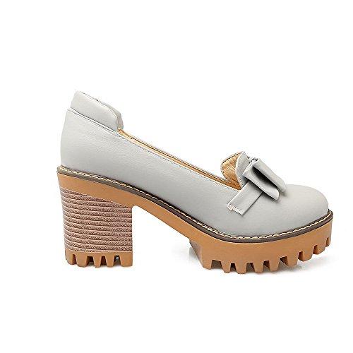 AllhqFashion Pumps Rein PU Hoher Damen Absatz Schuhe Ziehen Grau Rund auf Zehe qqwfS6TO