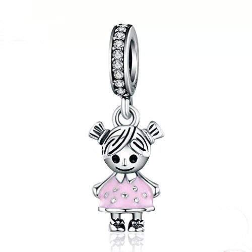 ABAOLA Boy or Girl Dangle 925 Sterling Silver Child Charm Beads for Fashion Charms Bracelet & Necklace (Pink)]()