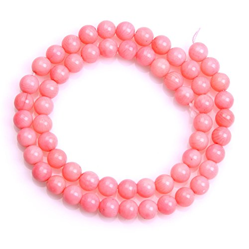 (Joe Foreman Coral Beads for Jewelry Making Semi Precious Gemstone 7mm Round Pink Strand 15