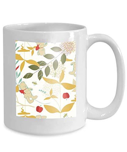 mug coffee tea cup leaves teddy bears Fervent 110z