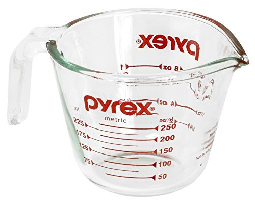 Pyrex Glass Measuring Cup 1 Cup ( 8 Oz ) Glass Red