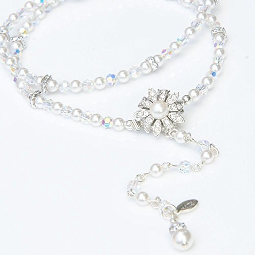Backdrop Bridal Necklace with Swarovski Simulated Pearls and Crystals ()