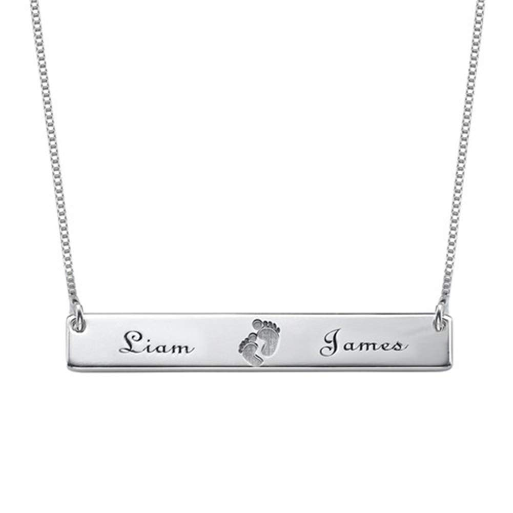 SADNESS N Personalized Custom Engraved Name Horizontal Bar Necklace as Gift for Mother