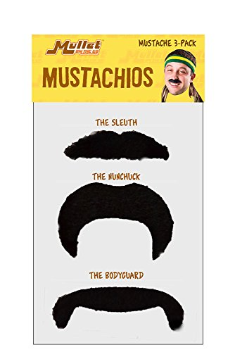 [Mullet On The Go Mustachio 3-Pack Black] (Manly Halloween Costumes)