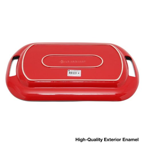 Le Creuset Stoneware 16'' Oval Serving Platter, Cerise (Cherry Red) by Le Creuset (Image #2)