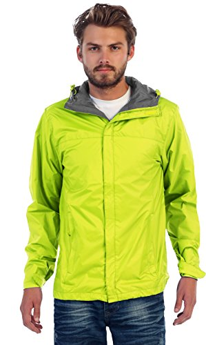 Gioberti Men's Waterproof Rain Jacket, Neon Green, XXL