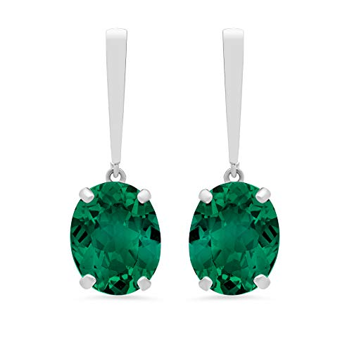 - 14k White Gold Solitaire Oval-Cut Created Emerald Drop Earrings (10x8mm)