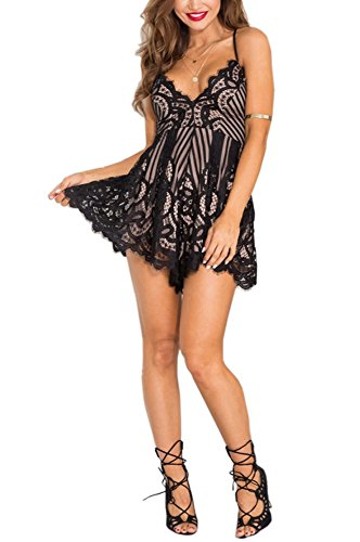 [SVALIY Women Sexy Flower Lace Strap Off Shoulder Romper Jumpsuit Overalls White (Large, Black)] (Sexy Jumpsuits For Women)