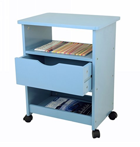 Frenchi Home Furnishing Rolling Cart with Drawer, Blue (Rolling Bookshelf)