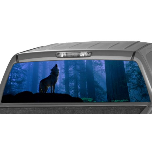 Wolf Window Graphics - HOWLING WOLF Rear Window Graphic Decal Tint Sticker Truck suv ute pickup glasscape