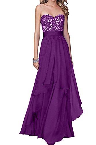 La Festlichkleider mia Brautjungfernkleider Brautmutterkleider Partykleider Chiffon Abendkleider Spitze Ballkleider Langes Violett Brau rrqOxHz
