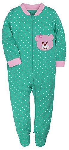Baby Girls 2-Way Zip Front Green Long Sleeve Footed Sleeper Pajamas 9-12Months Bear Pattern