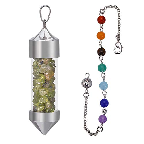 SUNYIK Peridot Chip Wish Bottle Pendant with Necklace for Unisex, 7 Chakra Stone Chain Pyramid Point Pendulum Healing Dowsing Reiki
