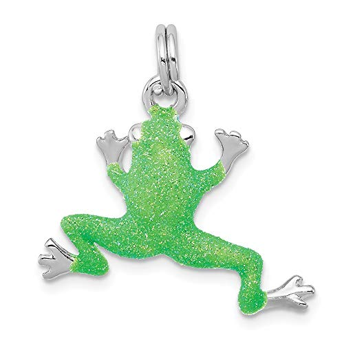 (Mireval Sterling Silver Anti-Tarnish Treated Green Enamel Frog Charm (approximately 22 x 24 mm))