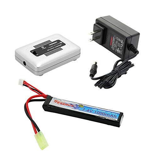 Tenergy Airsoft Battery 7.4V 1000mAh High Capacity LiPo Stick Battery Pack 20C High Discharge Rate Hobby Battery Pack w/Mini Tamiya Connector + LiPo/Life Balance Charger 1-4 Cells for Airsoft Guns