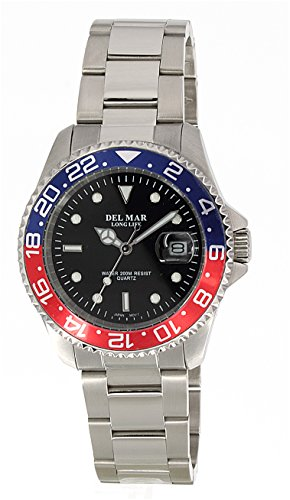 Del Mar 50494 Mens 200 Meter Sport Watch Classic Stainless Steel Blue Dial ()