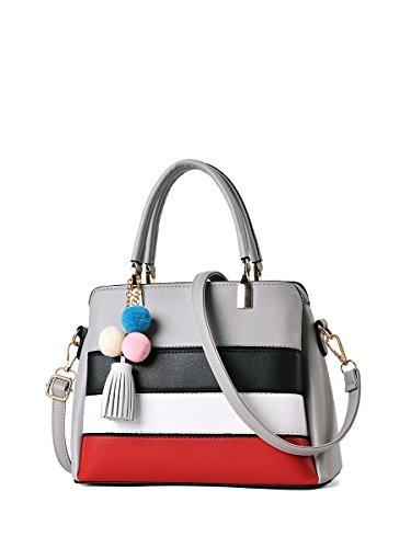 Y.H.X Best Shunvbasha Women's Handbag Stylish Color Block Handbag Color Grey