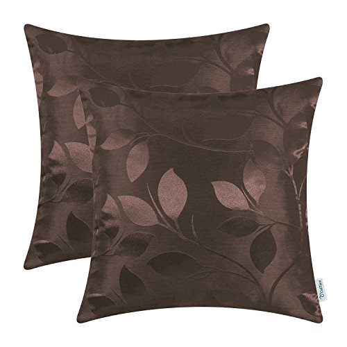 CaliTime Pack of 2 Throw Pillow Covers Cases for Couch Sofa Home Decor Shining & Dull Contrast Vibrant Growing Leaves 18 X 18 Inches Coffee from CaliTime