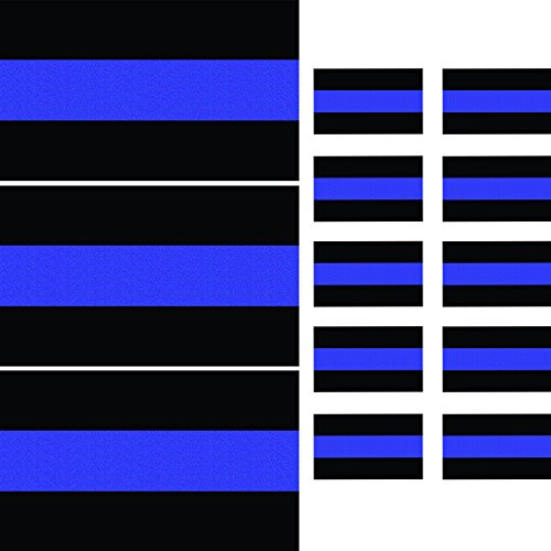 (Reflective Thin Blue Line Decals (3 Pack, 5