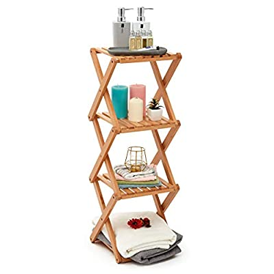 EZOWare Bathroom Storage Shelf, 4-Tier Collapsible Narrow Storage Organizer Rack Accent Tower Display Shelving – Beech Wood - ATTRACTIVE OPEN SHELVING –The EZOWare Foldable Beechwood Rack is elegant and unique way to instantly add additional shelving for storage, organization, or display in any room of your home or office. FOR ANY ROOM –Great for organizing and decorating your bathroom (towels / candles / frames), indoor herb garden or patio plant and flower pot stand, smaller bookcase for the living room or kids rooms, organizing your kitchen accessories and gadgets, displaying your collectables and figurines and much more. SPACESAVING DESIGN – Narrow vertical shelving – perfect for corner, nooks, or niche spaces. Folding design – no tools required, it can be folded to a compact size for portability and storage when not in use. - shelves-cabinets, bathroom-fixtures-hardware, bathroom - 413wa6K4NfL. SS400  -