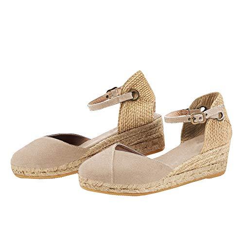 - Women's Wedge Espadrilles Ankle Buckle Canvas Wrap Slingback Braided Summer Platform Sandals