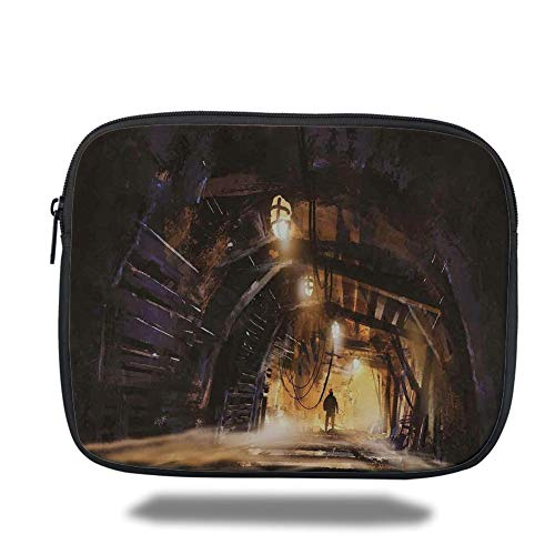 - Tablet Bag for Ipad air 2/3/4/mini 9.7 inch,Fantasy Art House Decor,Underground Tunnel of The Mine Shaft Smokey Dark Rocky Abandoned,Orange Purple,3D Print