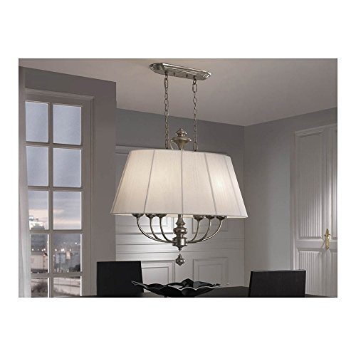 Schuller Spain 301113I4L Traditional Silver Open Oval Ceiling Pendant white 6 Light Dining Room | ideas4lighting by Schuller