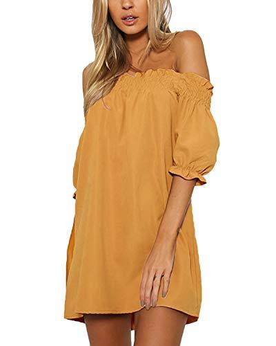 - YOINS Women Dress Solid Off Shoulder Tunics Short Sleeves Backless Summer T Shirt Blouse A Line Mini Dresses Yellow L
