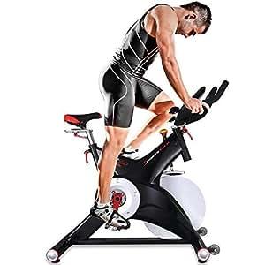 Sportstech SX500 Bicicleta Estática Profesional con Control de Aplicaciones por Smartphone, Soporte alcochado para Brazos, pulsometro Compatible, Pedales universales con Sistema de Click SPD