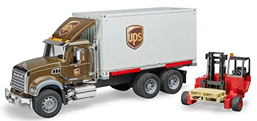 Bruder Mack Granite Ups Logistics Truck with Forklift Vehicles - Toys