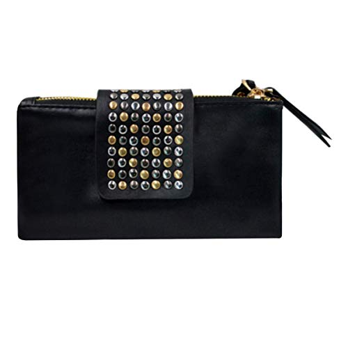 Goodbag Boutique Fashion Women Casual Clutch Handbag Faux Leather Rivet Evening Bag Zipper Wristlet Wallet Color (Black Fashion Wallet Clutch)