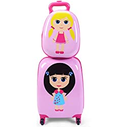 """Goplus 2Pc 12"""" 16"""" Kids Carry On Luggage Set Upright Hard Side Hard Shell Suitcase School Travel Trolley ABS (Girls)"""