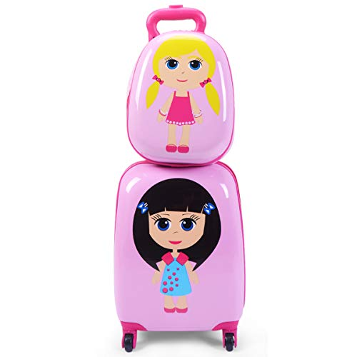 Goplus 2Pc 12 16 Kids Carry On Luggage Set Upright Hard Side Hard Shell Suitcase School Travel Trolley ABS (Girls)