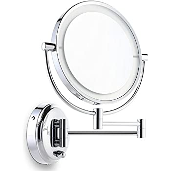 Ordinaire Miusco Lighted Magnifying Double Side Adjustable Makeup Mirror,  Wall Mounted, 8 Inch, Chrome