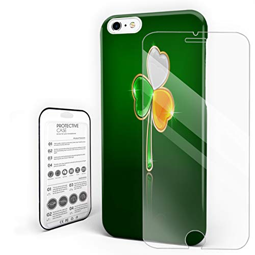 Protective Phone Case for iPhone 6/6s Case Cover, St. Patrick's Day Lucky Irish Flag Color Clover Shamrock Finny Design, Shockproof Anti-Scratch Hard Back Case with Tempered Glass Screen Protector