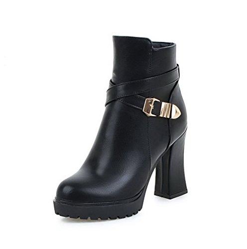 AllhqFashion Damen Hoher Absatz Weiches Material Rein Reißverschluss Stiefel mit Metallisch, Schwarz, 34