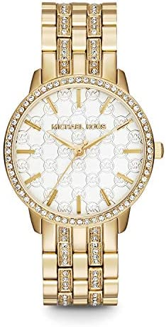 Michael Kors Women's Lady Nini Watch, Three Hand Quartz Movement with Crystal Bezel and White Logo dial