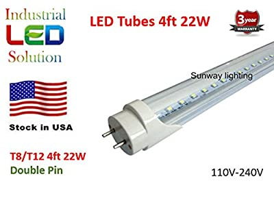 Pack of 25 ($7.16 each) G13 LED 4Ft Tube Light Bulb, 6000K (Cool white), Clear cover double pins, T8/T12, 110V-240V AC, 22W - 2200 Lumens (48W Fluorescent equivalent)