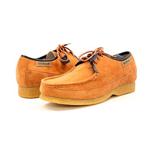 British Collection Mens Crown Lace-up shoe, Lavender/Beige Suede, 10 M Tan Suede