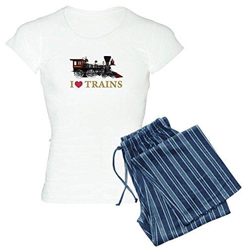 CafePress - I LOVE TRAINS - Womens Novelty Cotton Pajama Set, Comfortable PJ Sleepwear