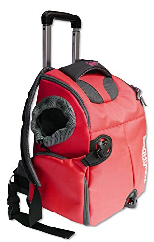 Cheap TOUCHDOG 'Wuffle Duffle' 2-in-1 Wheeled Backpack Sporty Fashion Pet Dog Carrier, One Size, Red