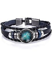 Twelve constellations gemstone bracelet retro handmade leather bracelet jewelry(Sagittarius)