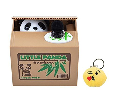 Free Emoji Keychain + Cute Stealing Coin Money Box Panda Bank Perfect Gift ~ WPYST (Talking Bank)