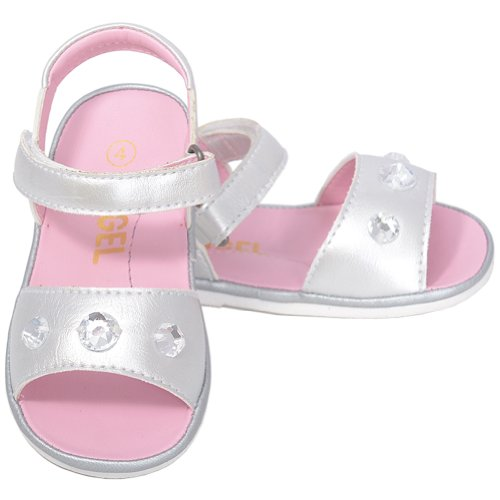 UPC 617407835649, Angel Baby Girls 1 Silver Metallic Jeweled Strap Spring Summer Sandals