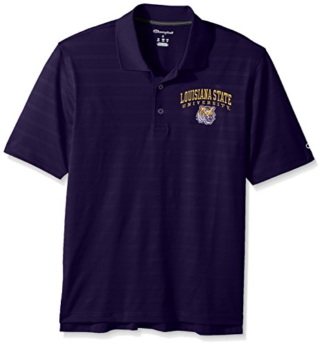 (Champion NCAA LSU Tigers Men's Textured Solid Polo, Small,)